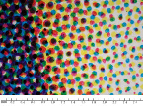 Liquid Toner DP: dots with smooth edges in a rosette pattern