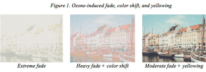 Figure 1. Ozone-induced fade, color shift, and yellowing
