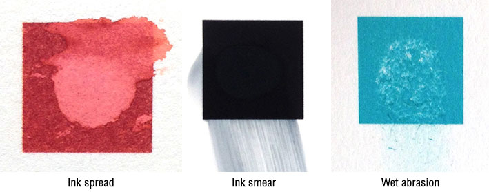 Ink spread, smear, and abrasion