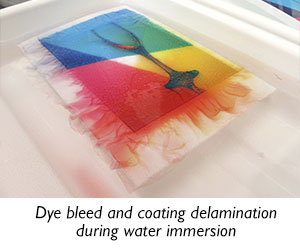 Dye bleed and coating delamination during water immersion